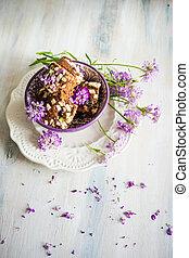 Kuchen dessert with flowers - German kuchen chocolate ...