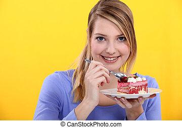 kuchen, erdbeer, frau essen
