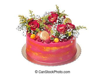 kuchen, für, a, wedding, von, blumen, von, rosen, eibisch, und, fruit.