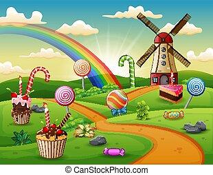 kuchen, fantasie, lieb, süßigkeiten, becher, land