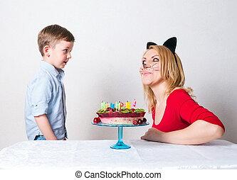 kuchen, junge, wenig, geburstag, mama