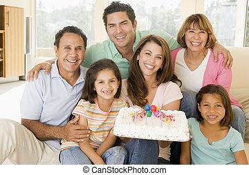 kuchen, lebensunterhalt, lächeln, zimmer, familie