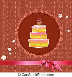 kuchen, weinlese, celebratory, hintergrund