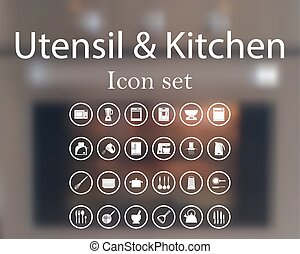 kuchenny sprzęt, ikona, komplet