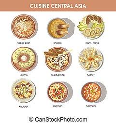 kuchnia, główny, restauracja, jadło, menu, ikony, azja, wektor