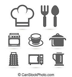 kuchnia, gotowanie, ikony, odizolowany, na, white., wektor