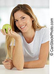 kuchnia, jabłko, kobieta