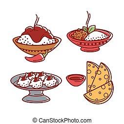 kuchnia, komplet, indianin, półmiski, płaski, karmowe ikony, odizolowany, tradycyjny, wektor