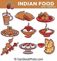 kuchnia, komplet, indianin, półmiski, płaski, karmowe ikony, tradycyjny, wektor