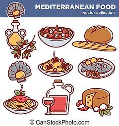 kuchnia, komplet, półmiski, ikony, jadło, menu, restauracja, śródziemnomorski, wektor