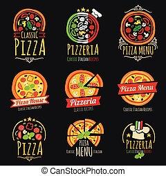 kuchnia, logos., restauracja, etykiety, emblematy, wektor, pizzeria, włoski, pizza