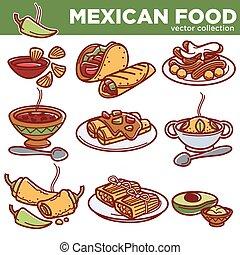 kuchnia, meksykanin, półmiski, ikony, jadło, menu, restauracja, tradycyjny, wektor