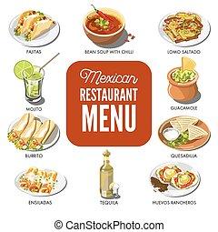 kuchnia, meksykanin, restauracja, jadło, menu, ikony, tradycyjny, wektor, półmisek