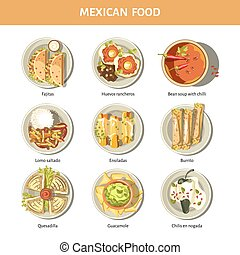kuchnia, meksykanin, restauracja, jadło, menu, ikony, wektor