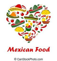 kuchnia, meksykanin, serce, restauracja, jadło, menu, meksyk