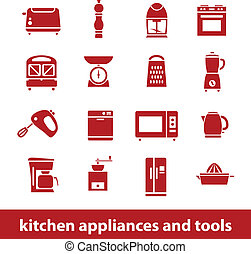 kuchnia, narzędzia, przyrządy, ikony