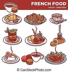 kuchnia, półmiski, ikony, jadło, menu, restauracja, francuski, wektor