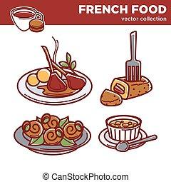 kuchnia, półmiski, restauracja, jadło, menu, ikony, francuski, wektor