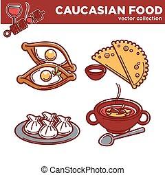 kuchnia, półmiski, restauracja, jadło, menu, ikony, tradycyjny, wektor, kaukaski