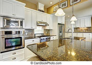 kuchnia, pokój, z, granit, szczyty, i, biały, magazynowanie, kombinacja