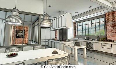 kuchnia, projekt, nowoczesny, rozwój