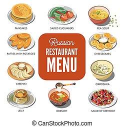 kuchnia, restauracja, jadło, menu, ikony, tradycyjny, wektor, ruski