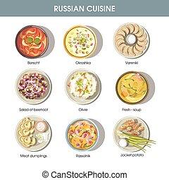 kuchnia, restauracja, jadło, menu, ikony, wektor, ruski