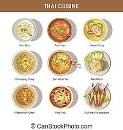 kuchnia, restauracja, jadło, menu, ikony, wektor, thai