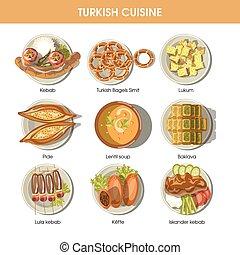 kuchnia, tureckie jadło, menu, ikony, wektor, restauracja