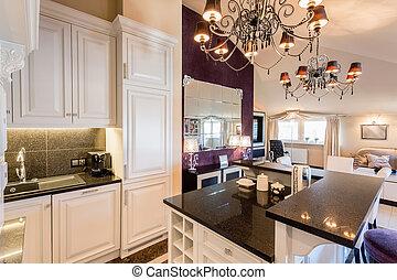 kuchnia, w, barok, dom