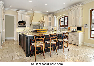kuchnia, w, luksus dom