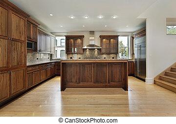 kuchnia, w, nowy, zbudowanie, dom
