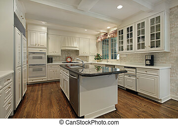 kuchnia, z, śmietanka, barwny, cabinetry