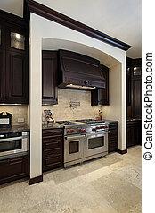 kuchnia, z, ciemny, drewno, cabinetry