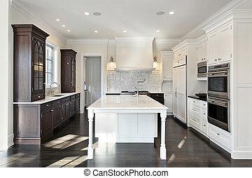 kuchnia, z, ciemny, i, lekki, cabinetry