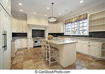kuchnia, z, lekki, drewno, cabinetry