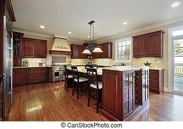 kuchnia, z, wiśnia, drewno, cabinetry