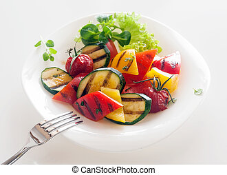 kuchnia, zdrowy, wegetarianin, veggie, upieczony, warzywa