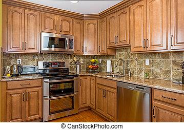 kuchyně, dřevo, cabinetry