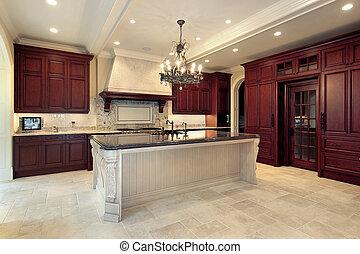 kuchyně, do, čerstvý, konstrukce, domů