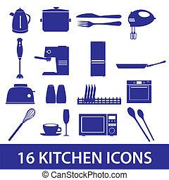 kuchyně, ikona, dát, eps10
