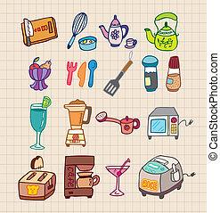 kuchyně, ikona, přístroji