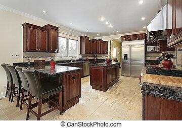 kuchyně, s, třešeň, dřevo, cabinetry
