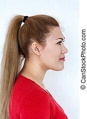 kucyk, hairstyle., piękno, fason modelują, dziewczyna, z, długi, zdrowy, prosty, brunatny włos