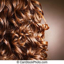 kudrnatý, hair., hairdressing., mávnutí, .natural, vlas