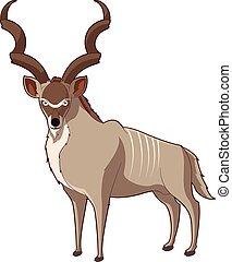kudu, sonriente, caricatura