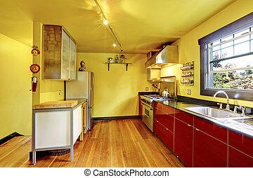 Kueche , Zimmer, Inneneinrichtung, Mit, Gelbe Wände, Und, Rotes , Cabinets