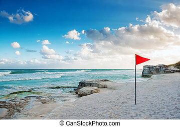 kueste, von, der, karibisches meer, mit, a, rote markierung, auf, der, strand.