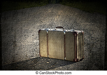 kuffert, gamle, venstre, vej, snavs