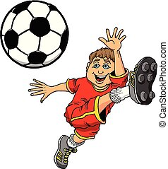 kugel, abbildung, treten, fußball, karikatur, kind